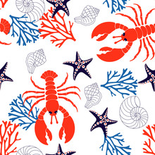 Sea Pattern With Lobster