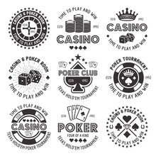Poker And Casino Vector Black Gambling Emblems