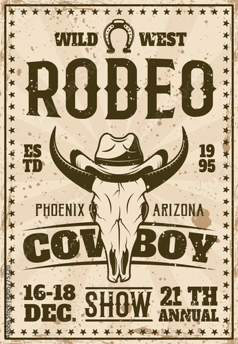 Fotografía  Rodeo show advertisement poster in retro style