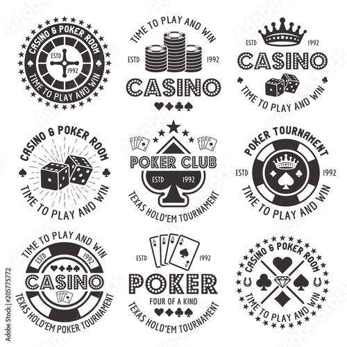 Valokuvatapetti Poker and casino vector black gambling emblems