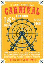 Carnival, Funfair Colored Poster In Flat Style