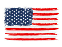 USA Colorful Brush Strokes Painted Flag – Stock Vector