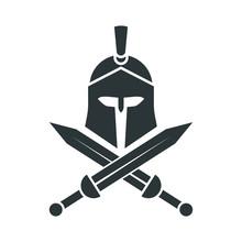 Spartan Helmet. Crossed Swords...