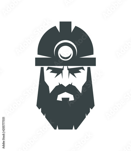 The Bearded Miner In A Helmet Logo Collier Icon Buy This Stock