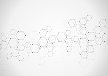 Hexagonal Background. Digital Geometric Abstraction With Lines And Dots. Geometric Abstract Design.