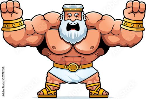 Cartoon Zeus Angry Canvas Print