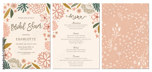 Rustic hand drawn Bridal Shower invitation and menu with seamless background Canvas Print