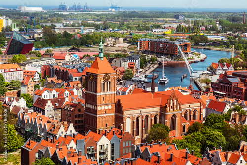 obraz lub plakat Gdansk, Poland, cityscape aerial view of the old town