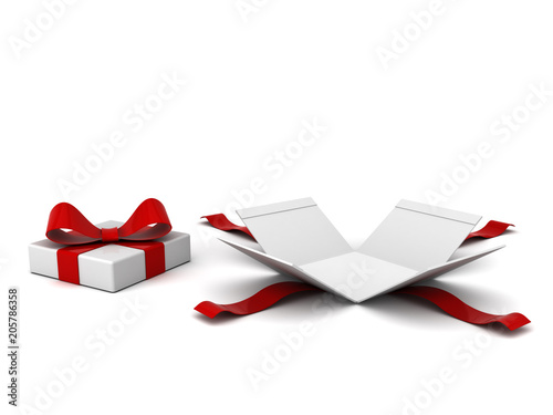 Fotografia, Obraz  Open gift box present box with red ribbon and bow isolated on white background with shadow