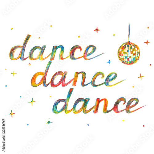 trzy-razy-wielokolorowy-wyraz-dance-kula-dyskotekowa