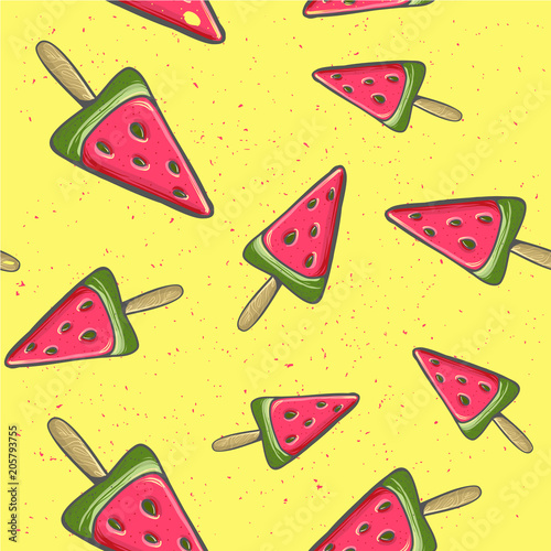 Cotton fabric cute childish Seamless seamless background with watermelon. Watermelon on a stick Vector illustration Summer time