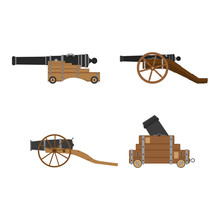Medieval Artillery Cannon Set Vector Flat Illustration Design Concept. Castle Defense Weapon