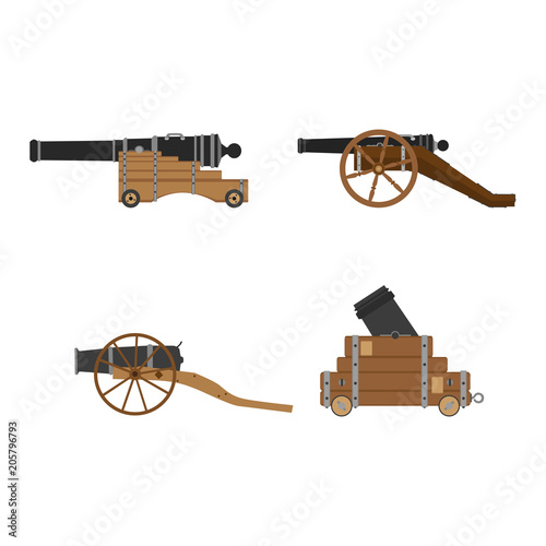 Photo Medieval artillery cannon set vector flat illustration design concept