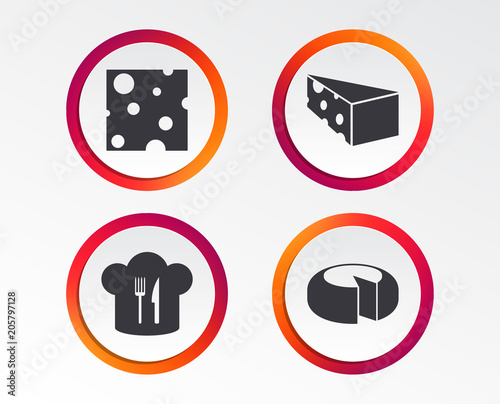 Cheese Icons Round Cheese Wheel Sign Sliced Food With Chief Hat