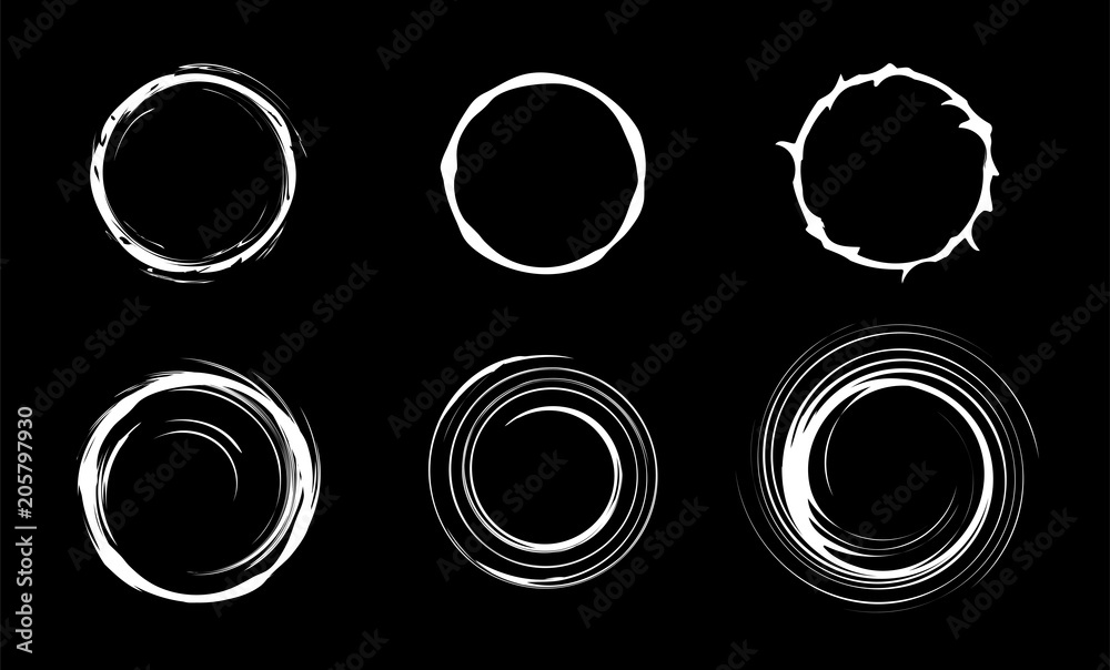 Fototapeta Space black hole set. Swirl abstract circles. Isolated vector illustration.