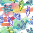 Colorful diamond rock jewelry mineral. Seamless background pattern. Fabric wallpaper print texture. Geometric quartz polygon crystal stone mosaic shape amethyst gem.