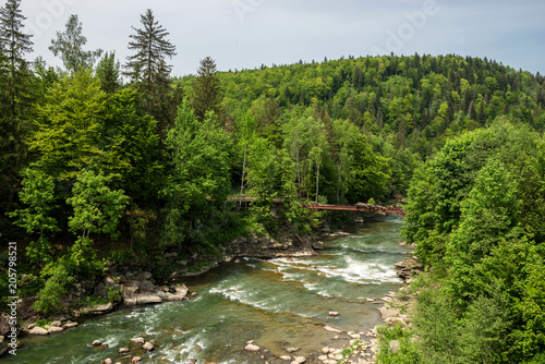 Foto op Plexiglas Rivier Aerial view of mountain river in summer.