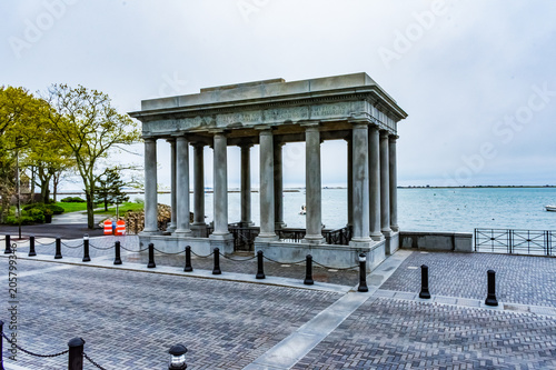 Canvas Structure Surrounding Plymouth Rock