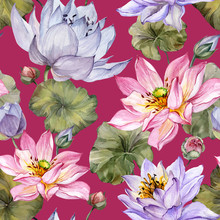 Beautiful Floral Seamless Pattern. Large Pink And Purple Lotus Flowers With Leaves On White  Background. Hand Drawn Illustration. Watercolor Painting.