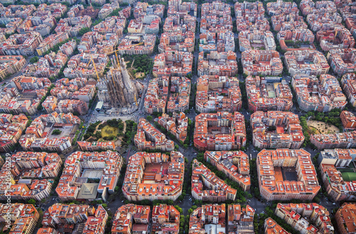 plakat Aerial view of Barcelona Eixample residencial district and Sagrada familia, Spain. Late afternoon light