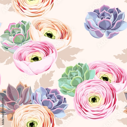 Seamless flowers and succulents Fototapet