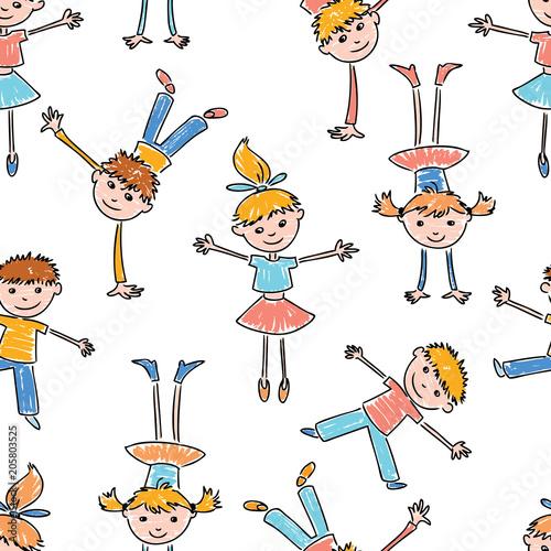 wzor-w-gimnastykujace-sie-dzieci-na-bialym-tle