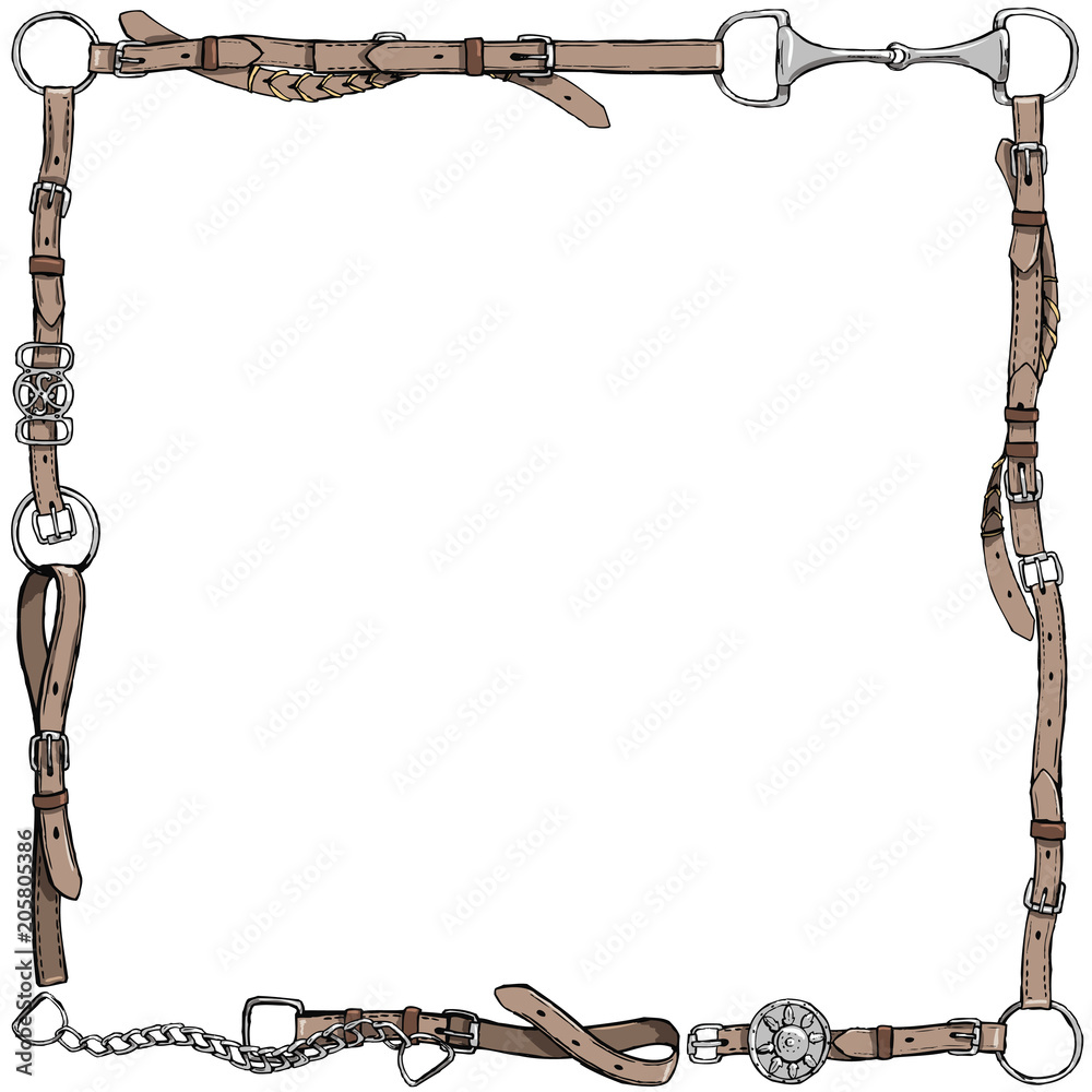 Fototapeta Equestrian belt frame. English fox hunting style. England tradition horse riding style isolated leather frame or border with bit, bridle, buckle and  riding tack tool. Hand drawing vector vintage art