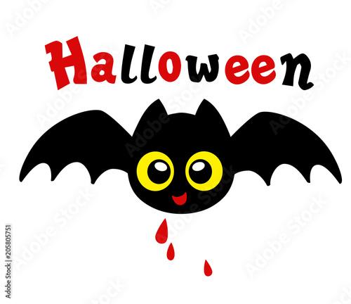 In de dag Uilen cartoon My first Halloween. Sweet bat with drops of blood.