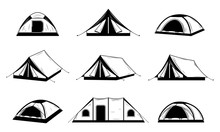 Vector Black And White Camping...
