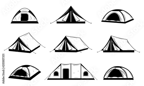Foto Vector black and white camping tent icons