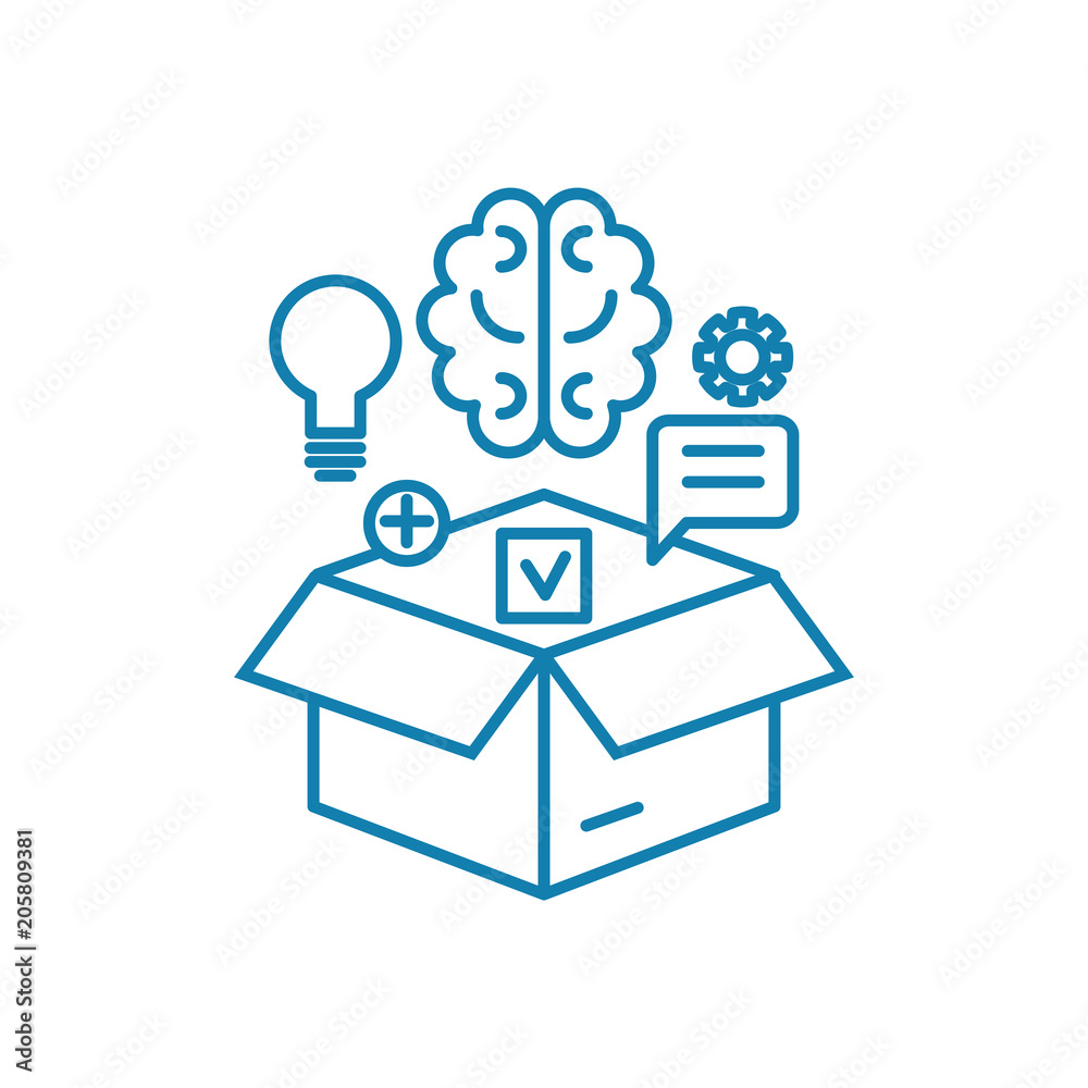 Fototapeta Intellectual resources line icon, vector illustration. Intellectual resources linear concept sign.