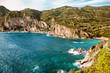 Beautiful seascape with rocky coastline at Paleokastritsa in Corfu, Greece