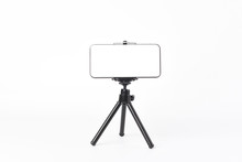 Mobile Phone Set On Tripod For...