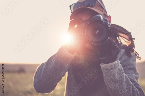 Press Photographer with Camera Canvas Print