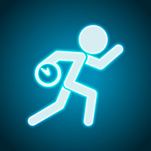 Running Man With Clock. Simple Icon. To Be Late. An Unpleasant S