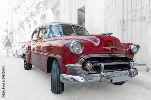 Plakaty stare samochody   czerwony-samochod-retro-w-hawanie-na-kubie