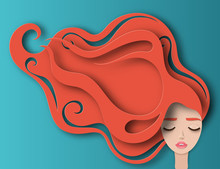 Vector Portrait Of Young Beautiful Woman With Long Red Curly Hair. Modern Digital Paper Layered Art. Origami Style. Beauty And Fashion Concept