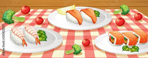 Papiers peints Jeunes enfants Sushi on Plate at Table