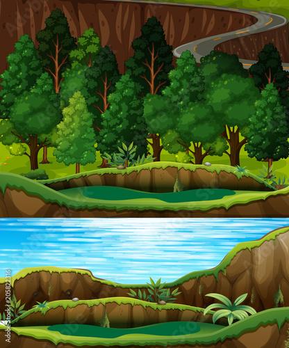 Papiers peints Jeunes enfants A Green Forest and River Landscape