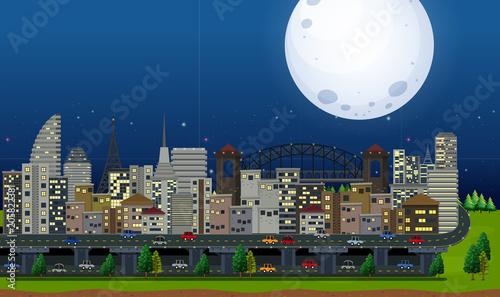 Papiers peints Jeunes enfants A Big City Under the Moonlight