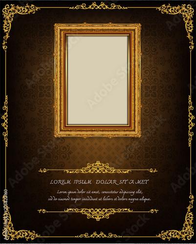 Fotografia  Decorative vintage frames and borders set,Gold photo frame with corner Thailand