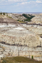 Horseshoe Canyon, Alberta, In The Spring; View Of Alberta Badlands Near Drumheller