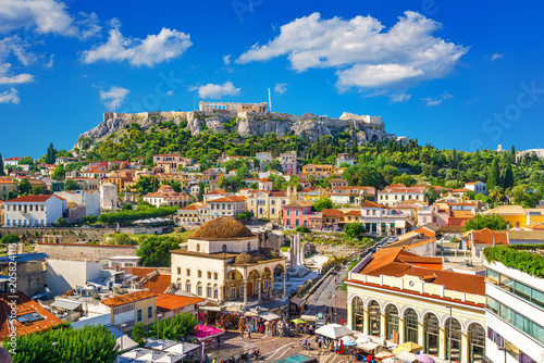View of the Acropolis from the Plaka, Athens, Greece Canvas Print