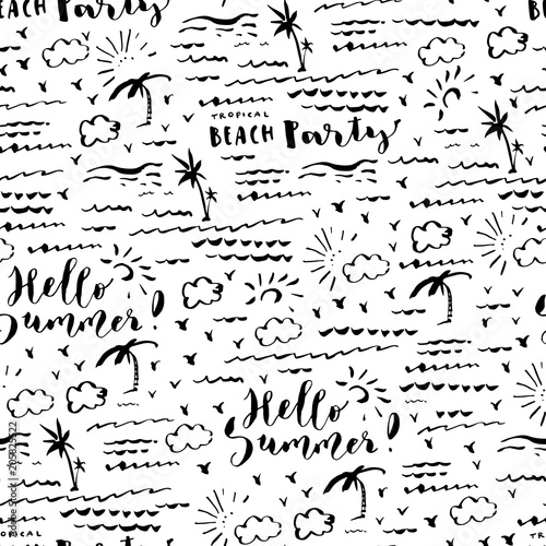 Cotton fabric Hand drawn summer seamless pattern with palm rees, sea, clouds and birds. Hello Summer Beach Party brush hand lettering