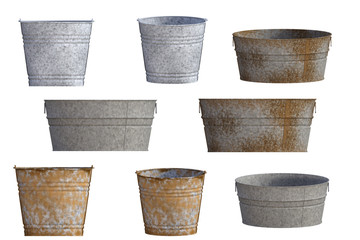 Set of metal tubs isolated on white, 3d render.