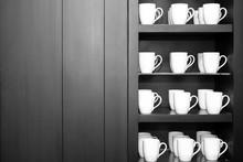 Many Coffe Cup On Shelf