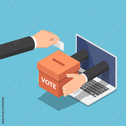 Fotografie, Obraz  Isometric businessman hand putting voting paper into ballot box that come out fr