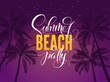 Summer beach party typography. Tropical poster with night sky and palm tree. Vector illustration for night club. Font composition. Template for banner, poster, flyer, card, postcard, cover, brochure.