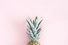 Pineapple On Pastel Pink Backg...