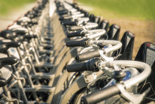 Close Up Of Rental Bicycles On Rental Station On The Street